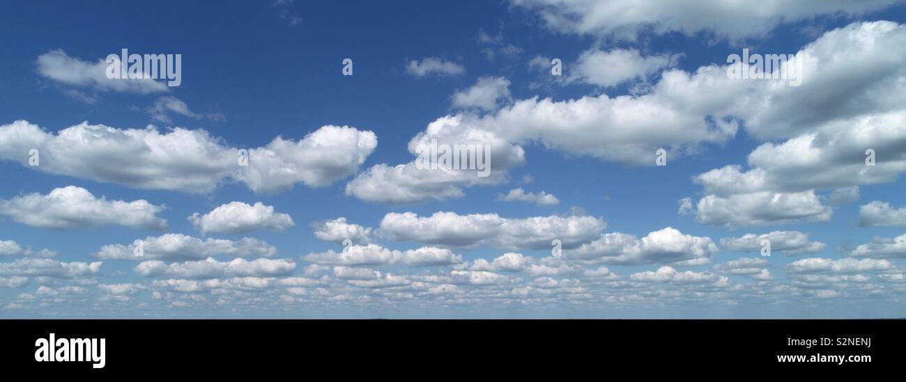 Unusual perspective taken by drone, close to the flat cloud base of fair weather cumulus clouds and blue skies, forming cloud streets near Stockbridge. - Stock Image