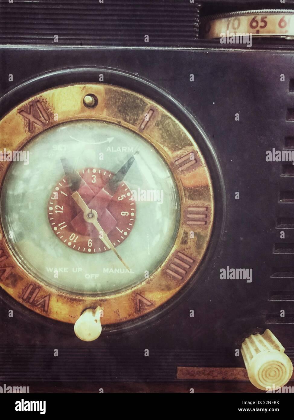 Retro styled clock radio - Stock Image