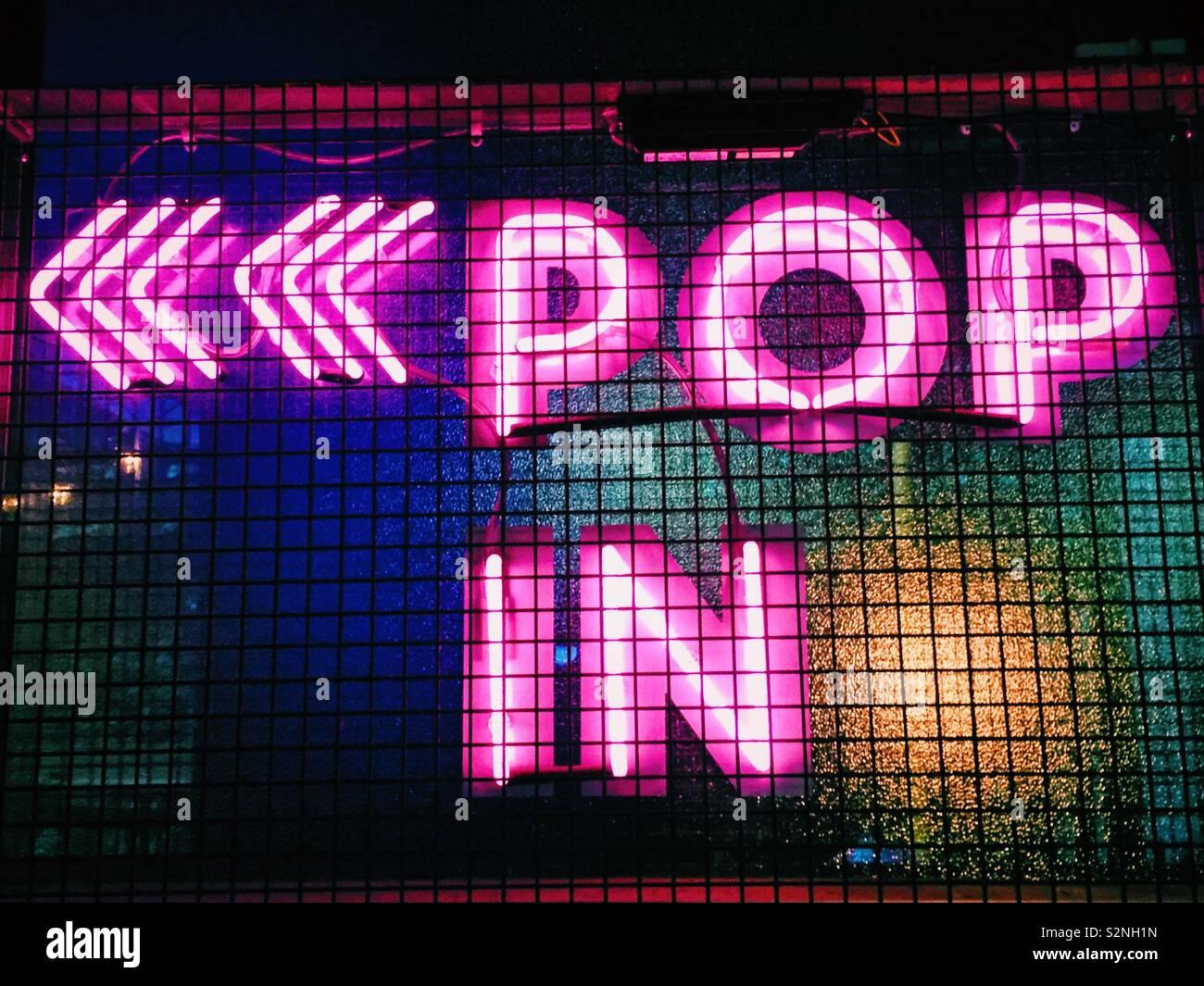 Pop in neon sign Stock Photo