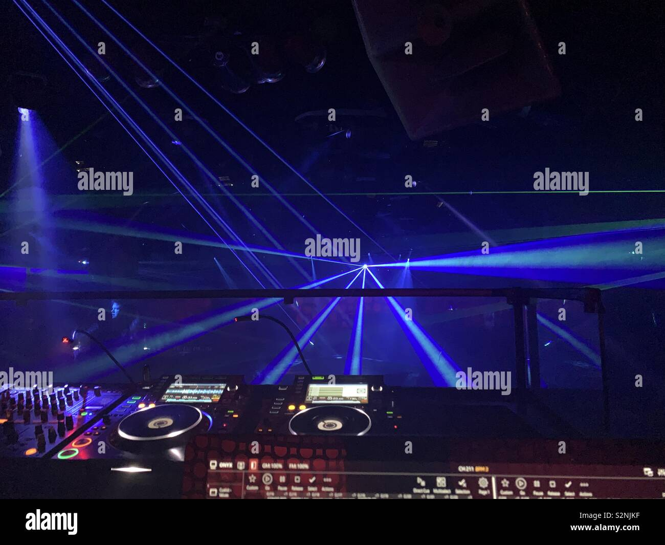 EDM lasers at a nightclub. - Stock Image