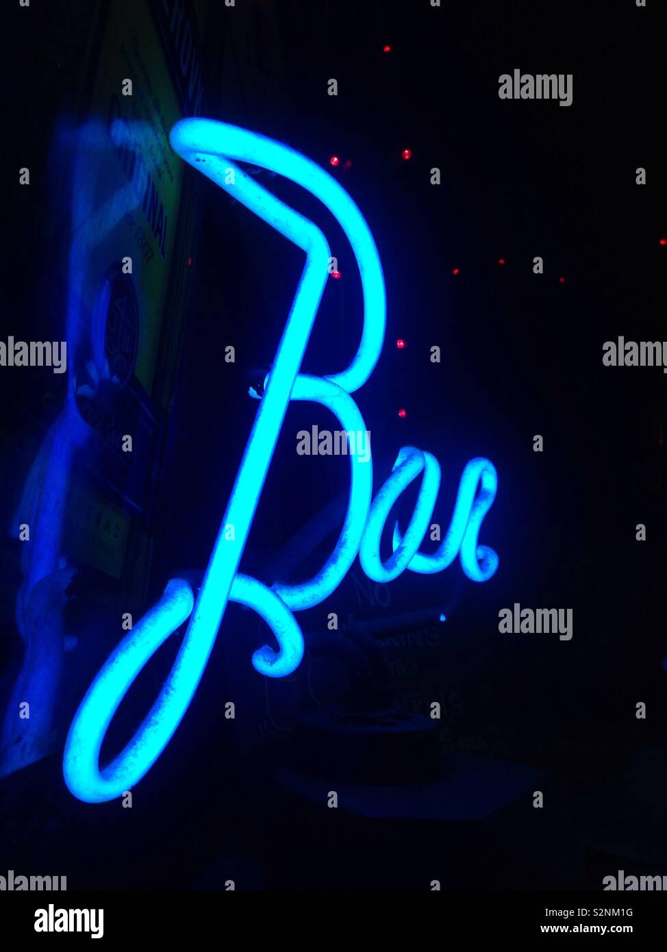 Neon Sign Written Text Bar On A Black Background Mobile