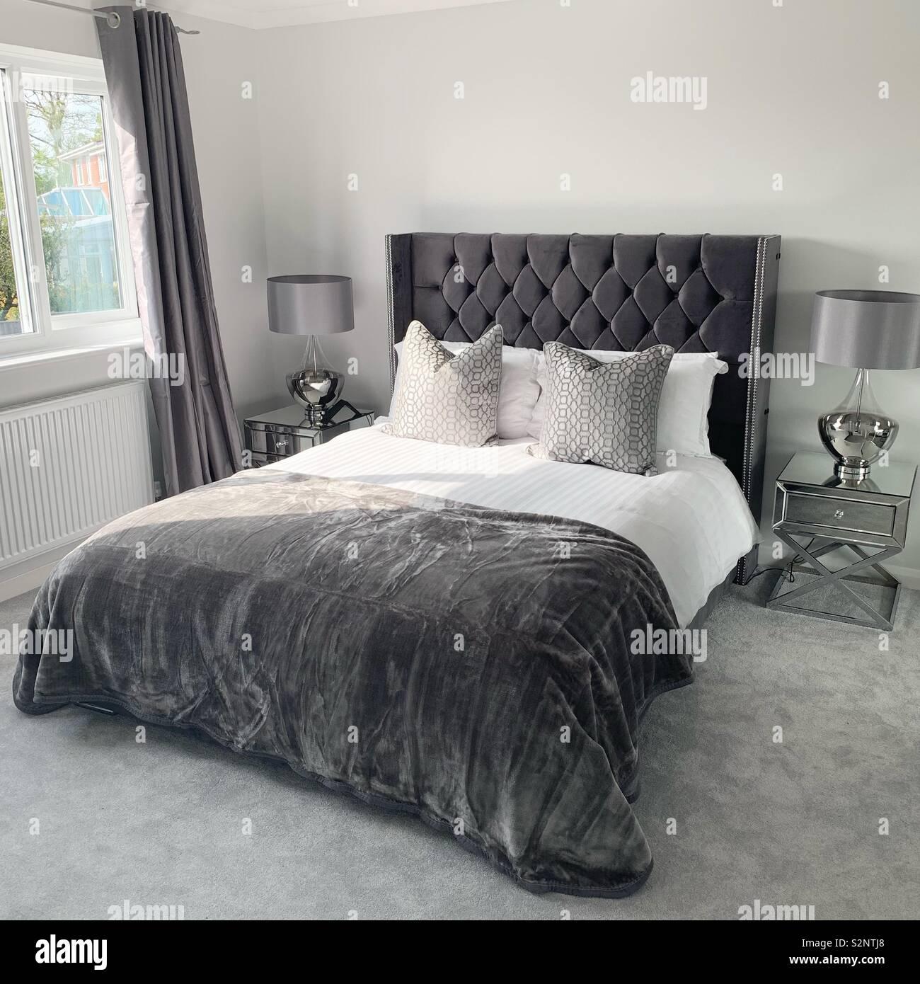 Gorgeous Dark Grey Velvet King Size Bed Stock Photo Alamy