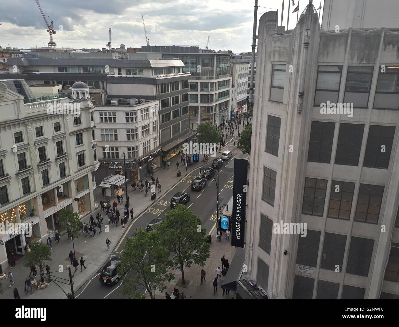 An arial view of Oxford St, London, taken from John Lewis, during spring. - Stock Image