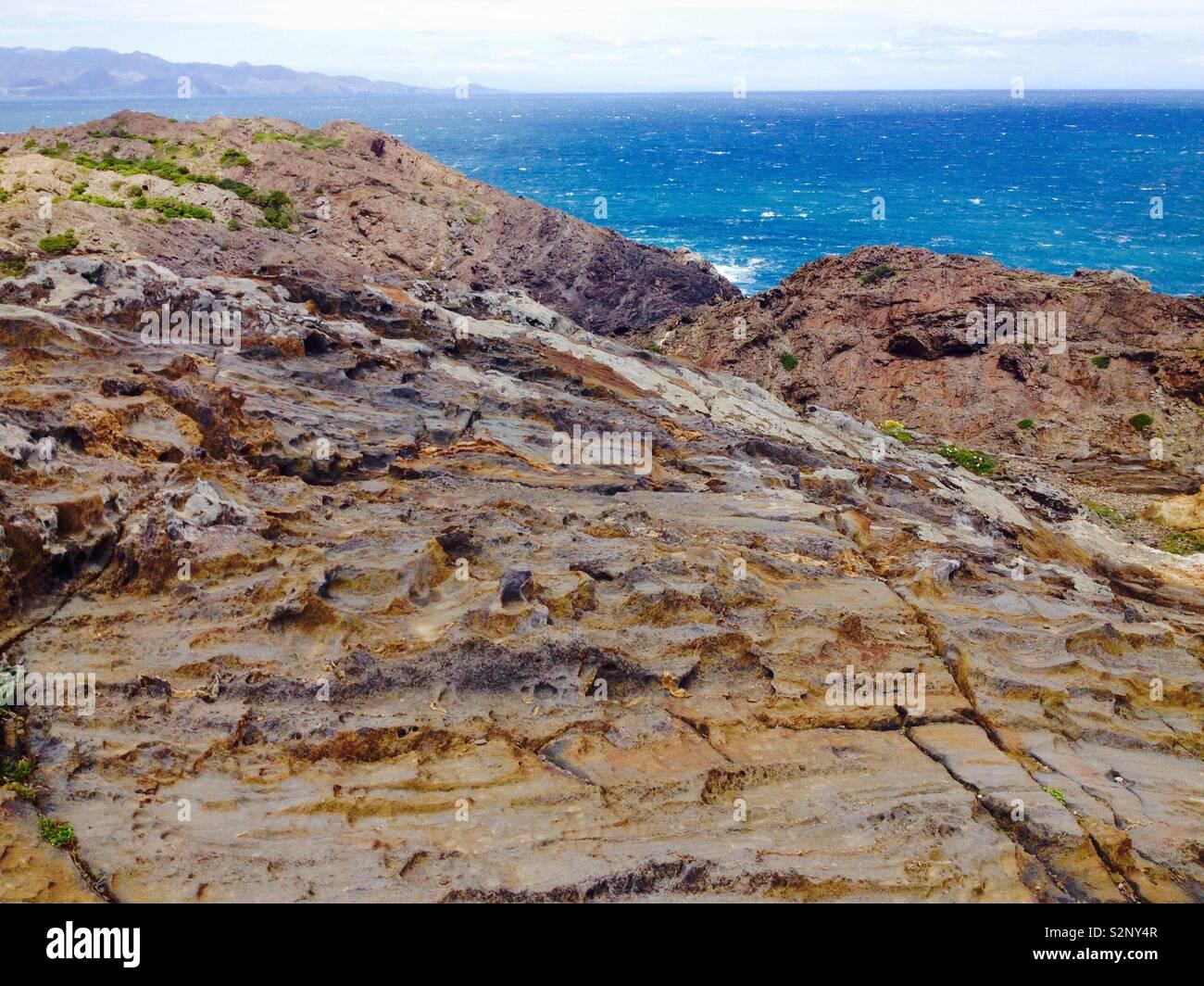 Wind erosion at Cap de Creus Natural Park. Catalonia . Spain - Stock Image