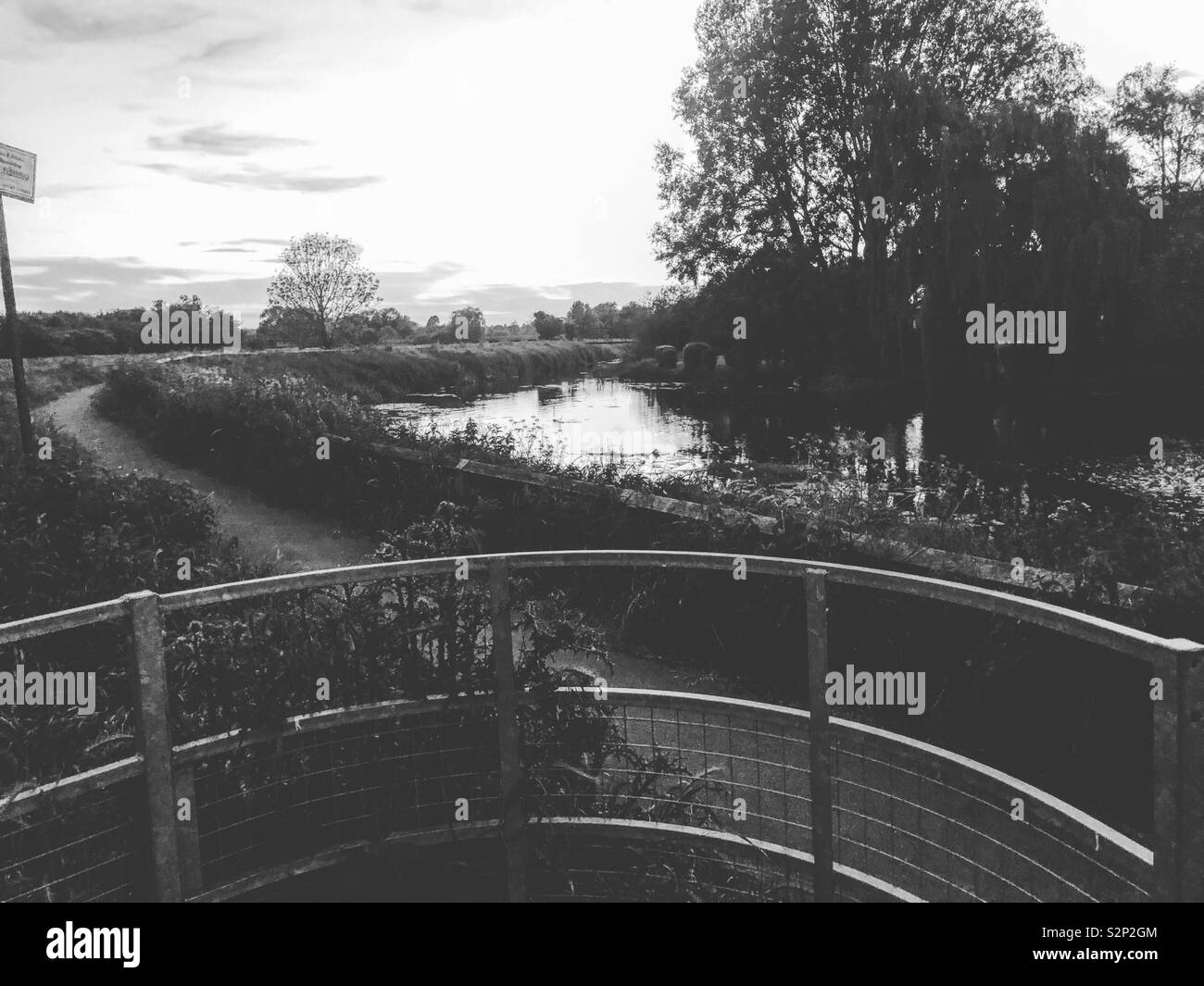 Black & white river side views - Stock Image