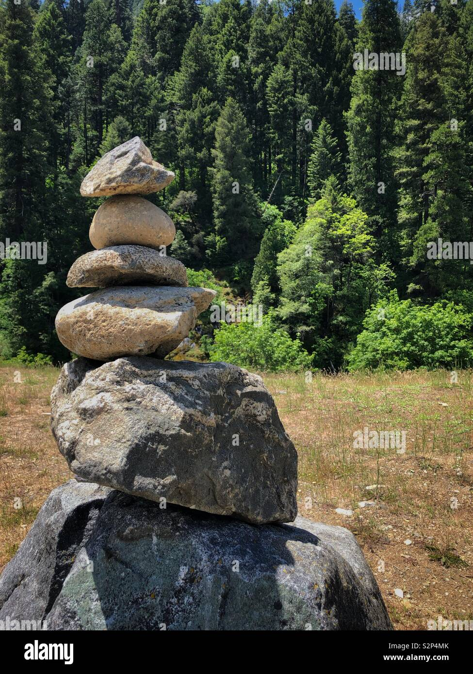 Standing rocks near the American River on Highway 50 in California. Stock Photo