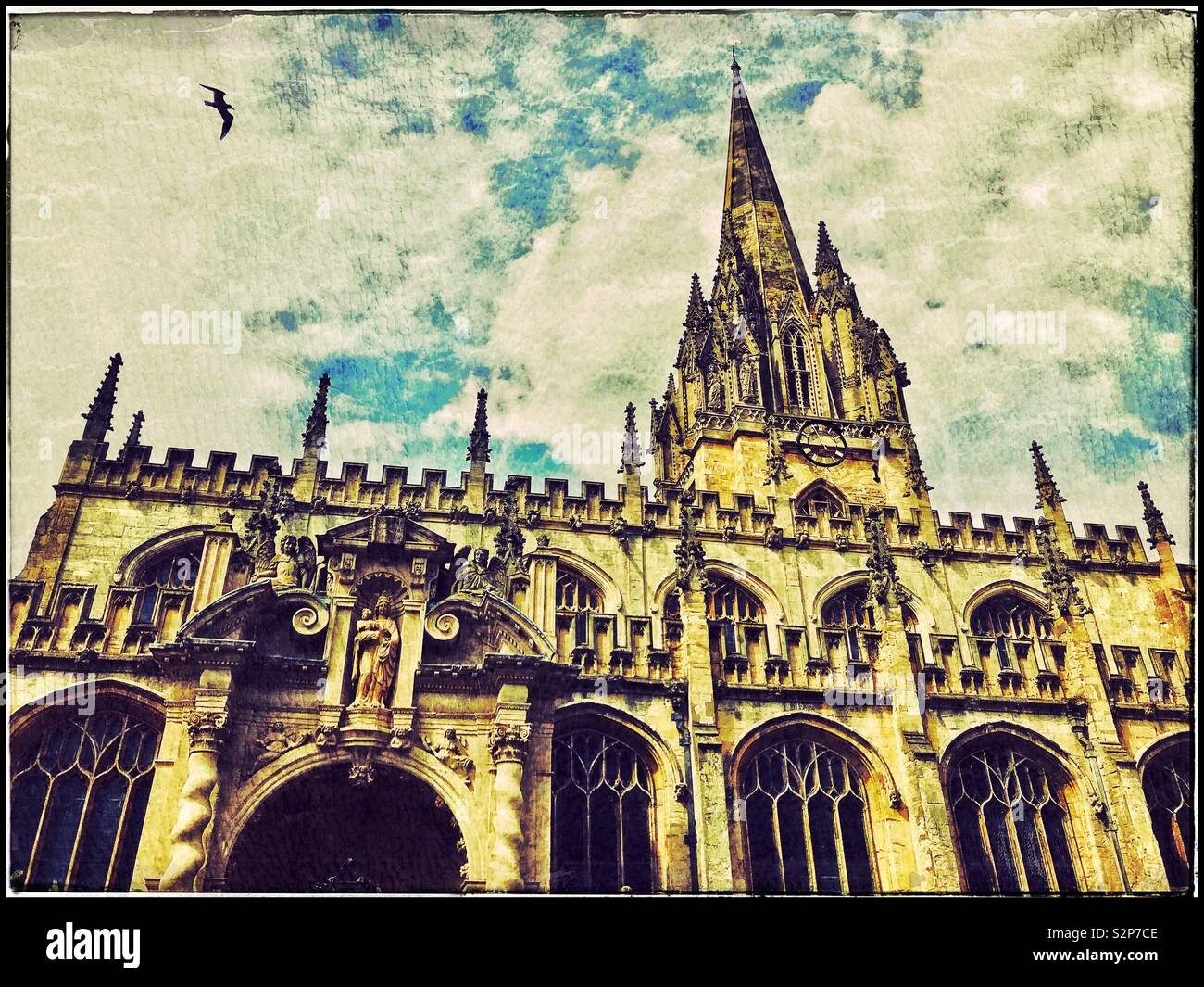 A retro effect photo of The University Church Of St. Mary the Virgin in Oxford, England. This Parish Church is an integral part of the University of Oxford. Photo © COLIN HOSKINS. - Stock Image