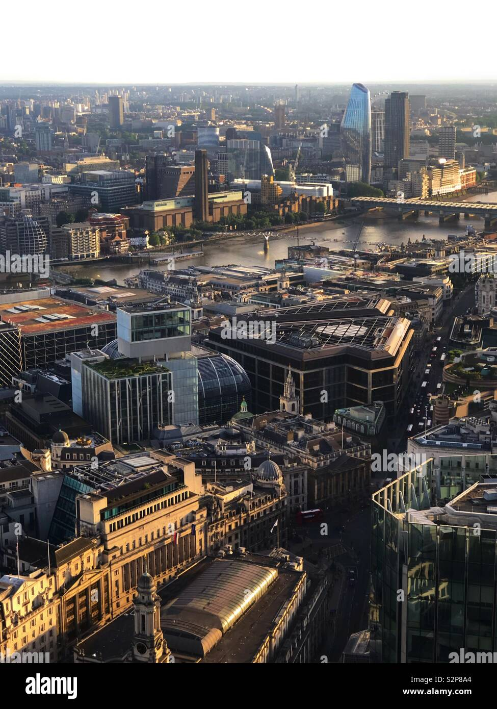 Looking down at London from a high elevation. - Stock Image
