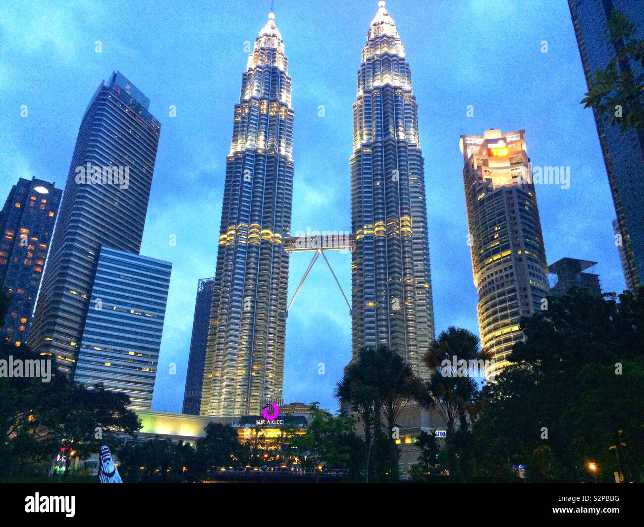 Petronas Towers at dusk - Stock Image