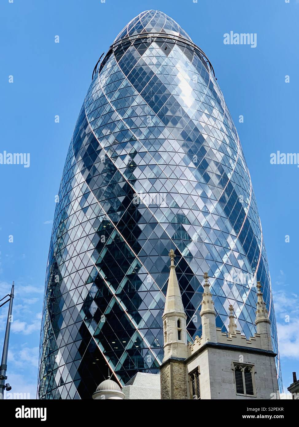 London, UK - 6th June 2019: The Gherkin, St Mary Axe, City of London. - Stock Image