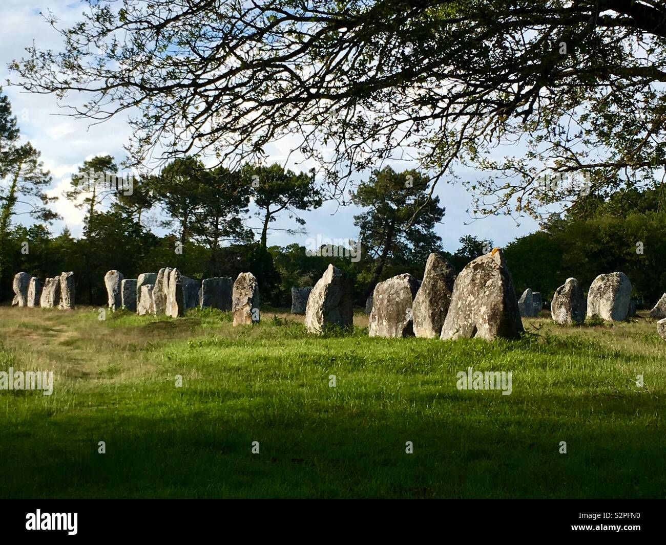 Menhirs alignment of Kerlescan, Carnac, Brittany, France. - Stock Image