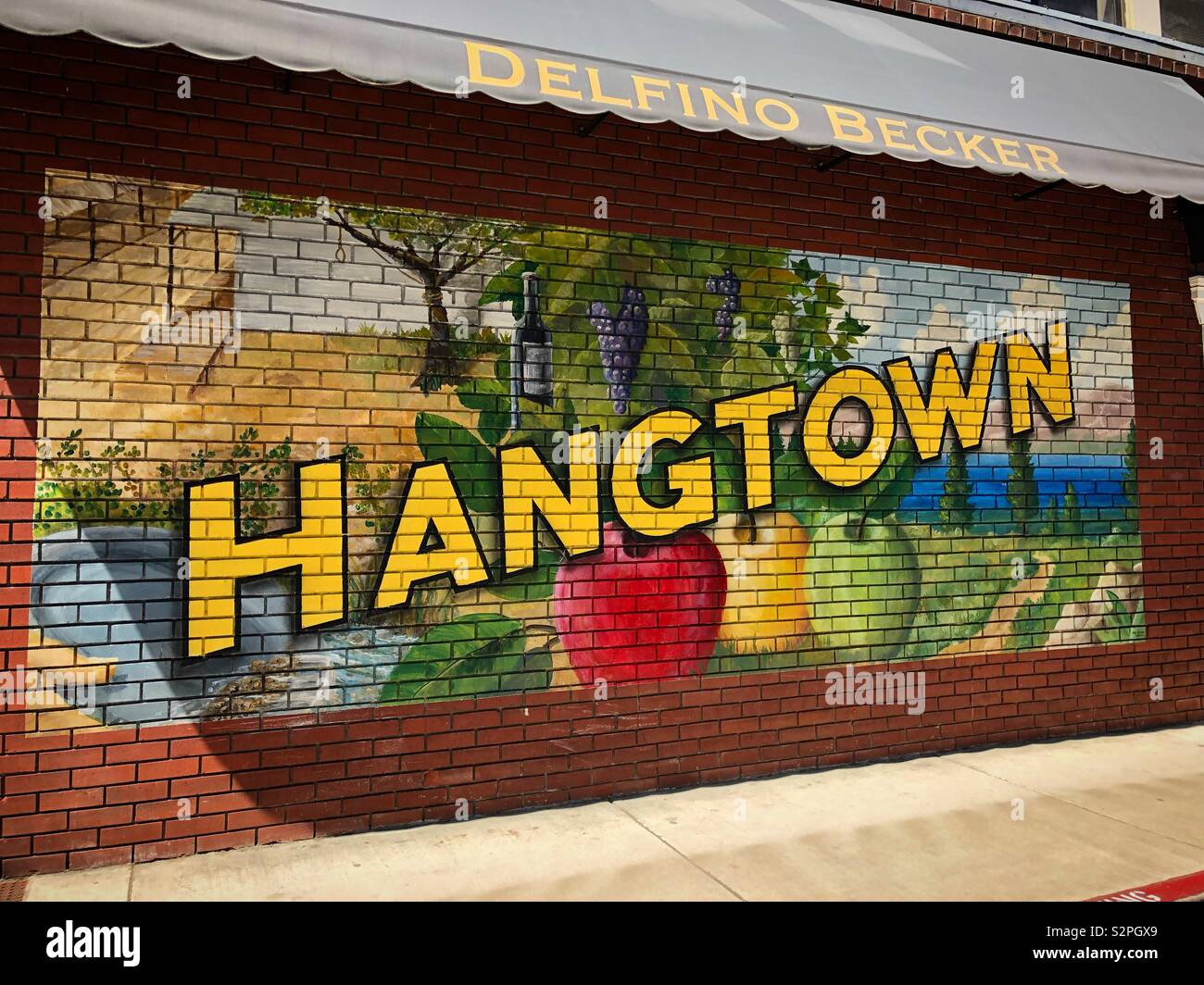 Hangtown mural in Placerville, California. Stock Photo