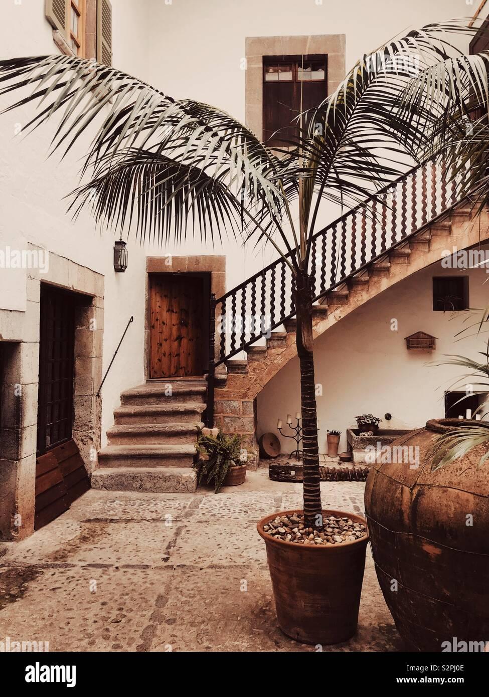 Mallorcan Courtyard Stock Photo