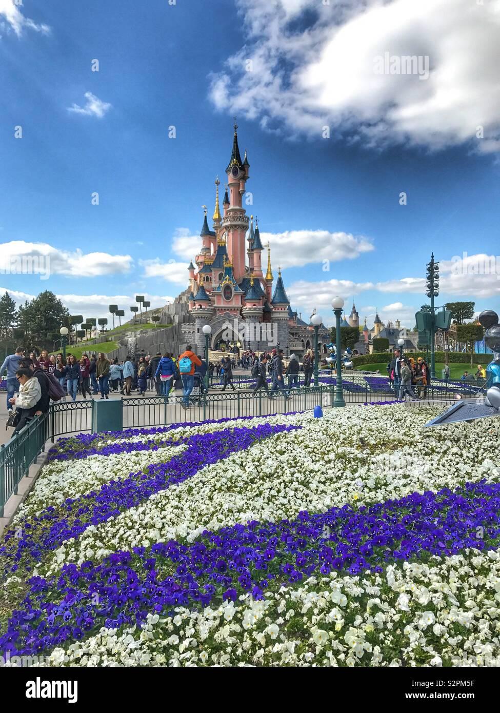 Sleeping beauty Castle - Fairy take castle Disney Land Paris France Stock Photo