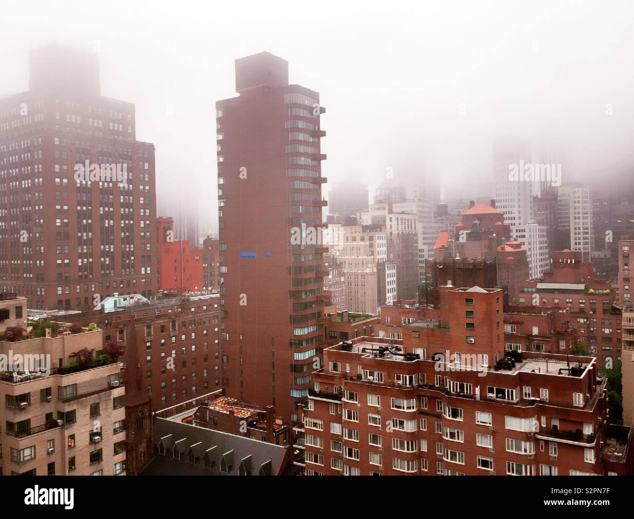 Frog obscure is the view of skyscrapers and other buildings in midtown Manhattan, NYC, USA - Stock Image