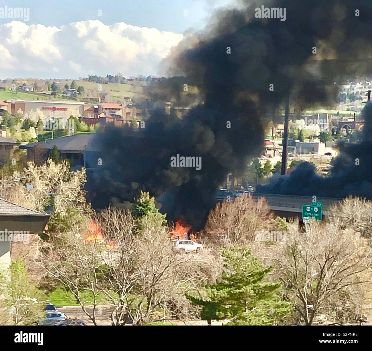 Raging fire. on Highway, Lakewood, Colorado April 25 2019 - Stock Image