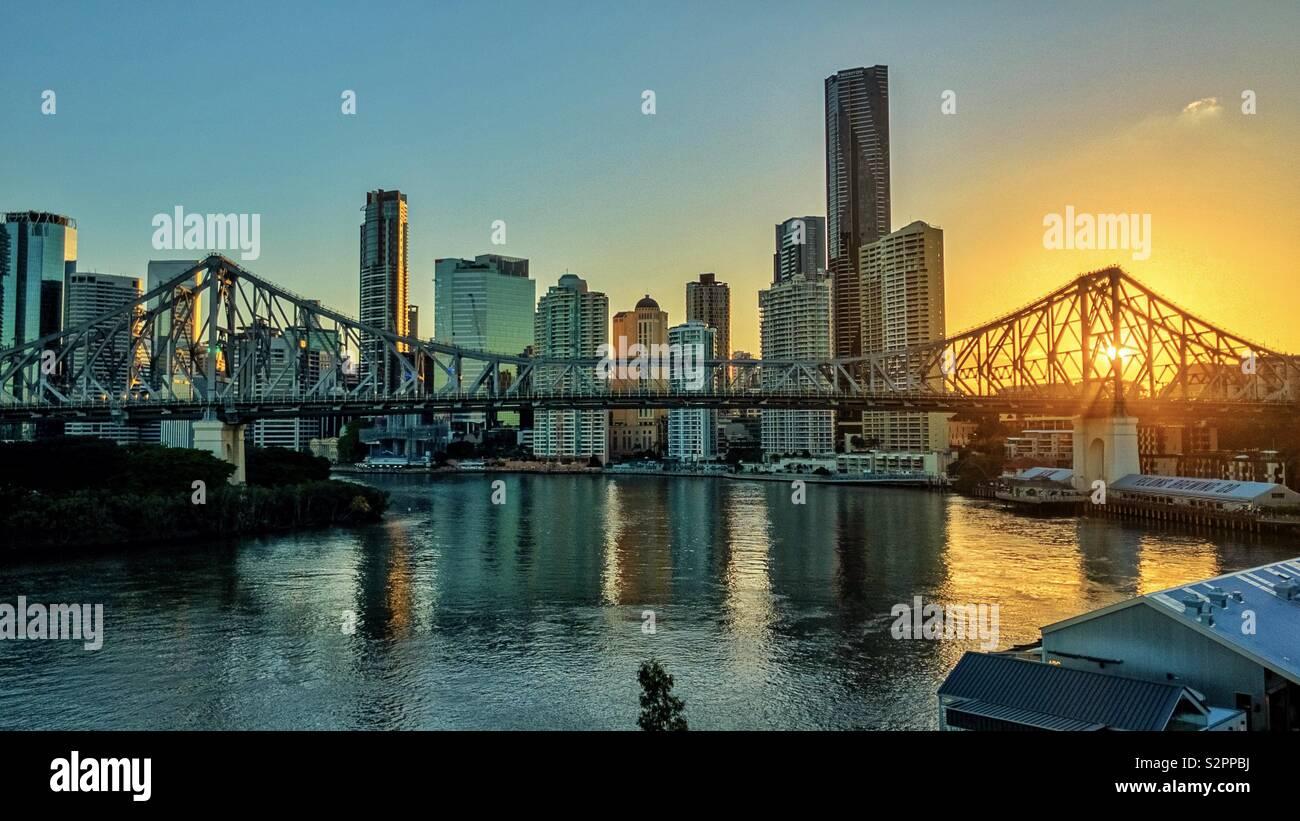 Sunset in Brisbane - Stock Image