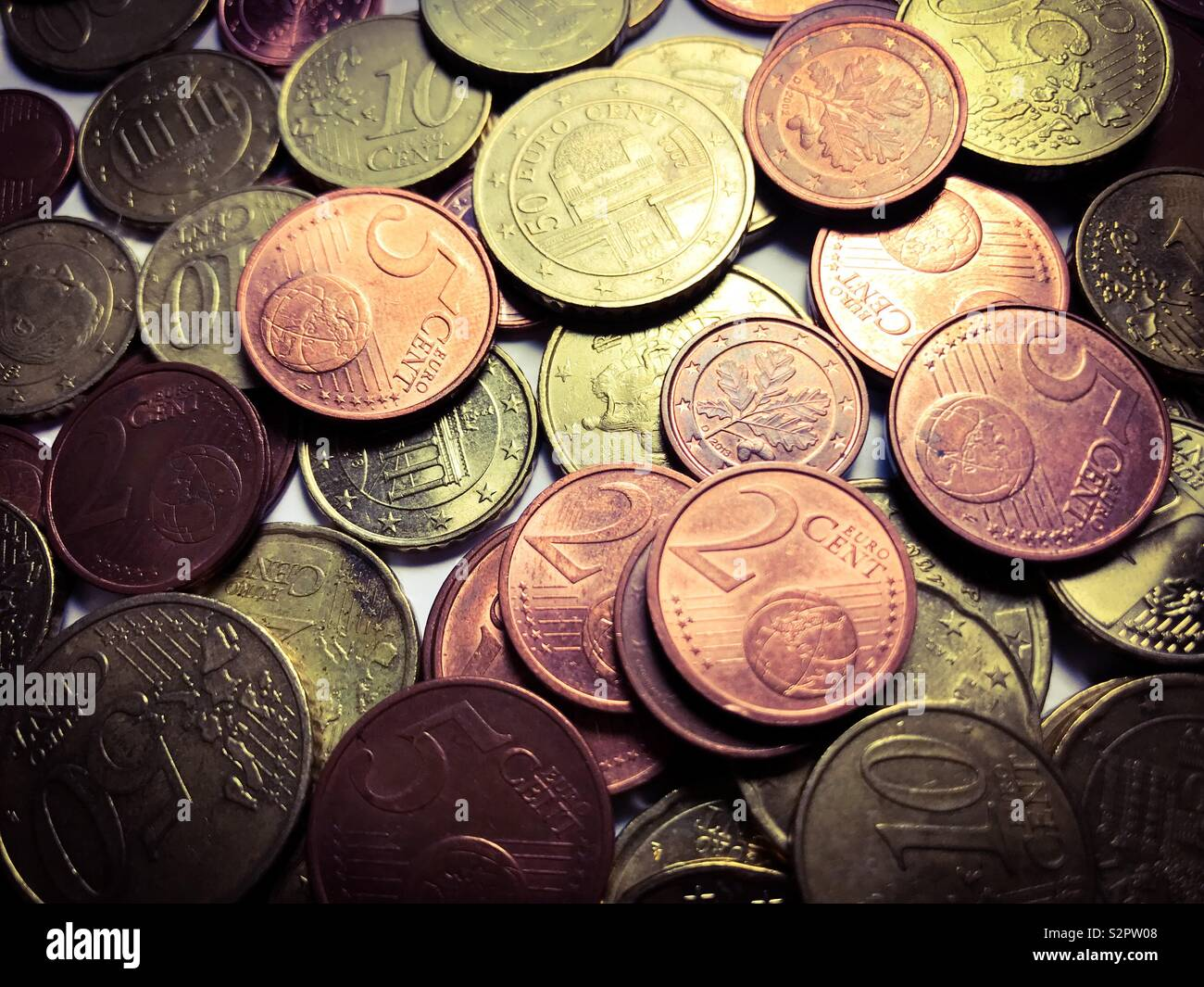 Big pile of mixed euro coins - Stock Image