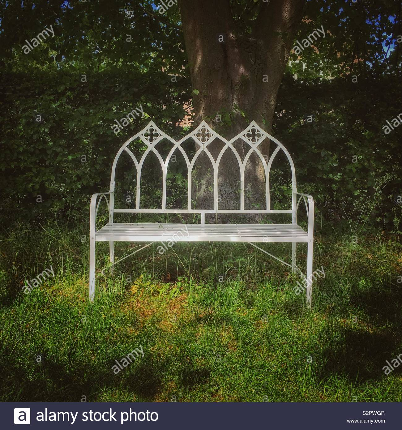 Marvelous Gothic Style White Metal Seat In An English Country Garden Gmtry Best Dining Table And Chair Ideas Images Gmtryco