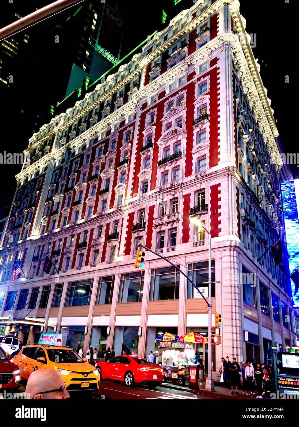 Knickerbocker Hotel 42nd Street New York City near Times Square with traffic at night Stock Photo