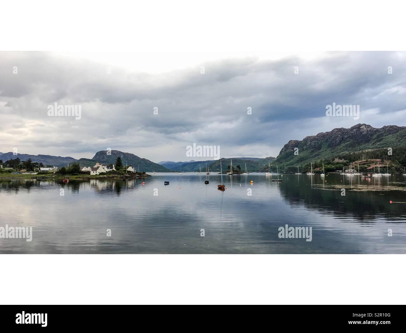 View across Plockton Harbour, North West Highlands, Scotland - Stock Image