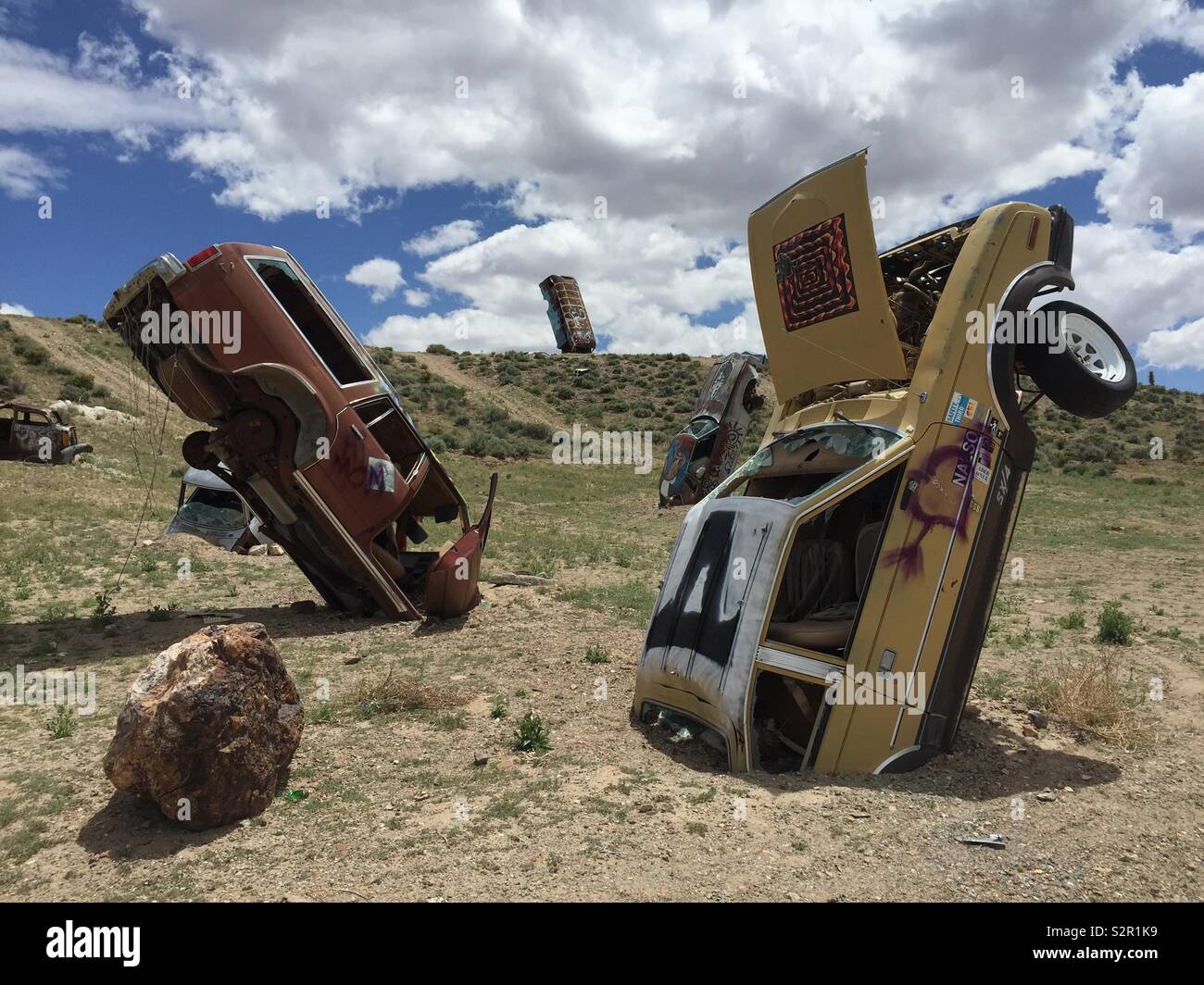 Old Cars At The International Car Forest Of The Last Church In Goldfield Nevada Stock Photo Alamy