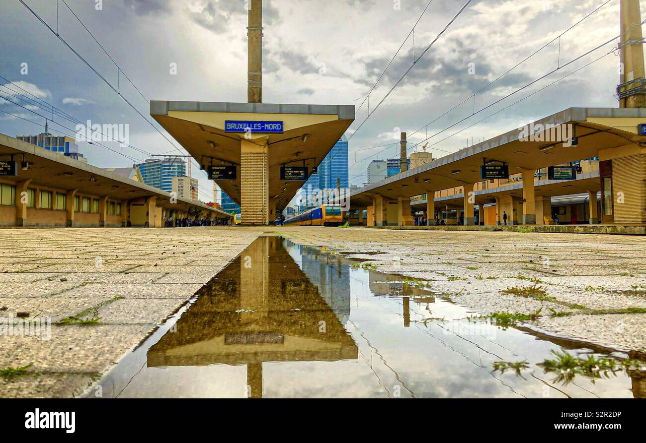 Train on the platform in the railwaystation of Brussels reflected in a puddle after the rain - Stock Image