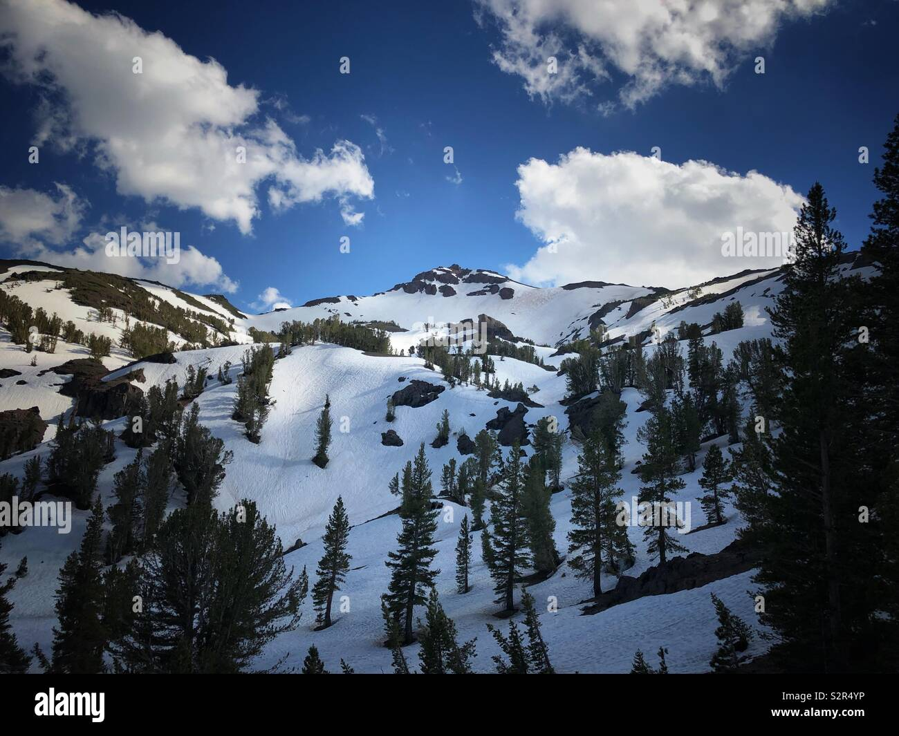 Sonora Pass high in the Sierras at 9,6624 ft. Taken in June 2019. Stock Photo