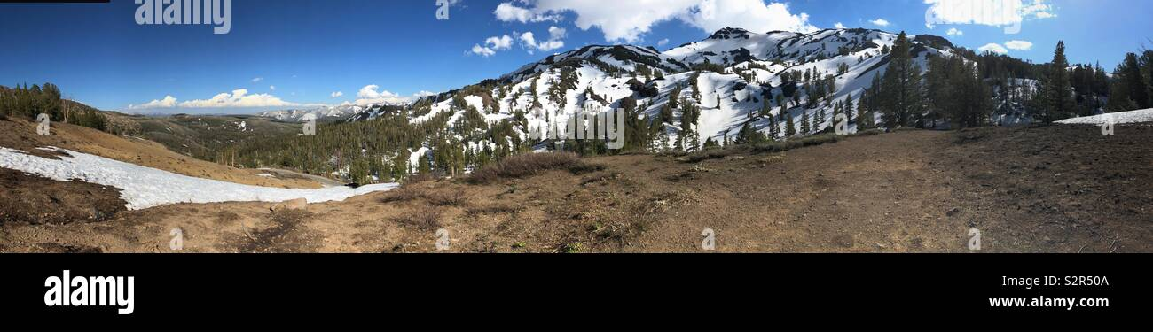 Panorama from the top of Sonora Pass in the California Sierras. Stock Photo