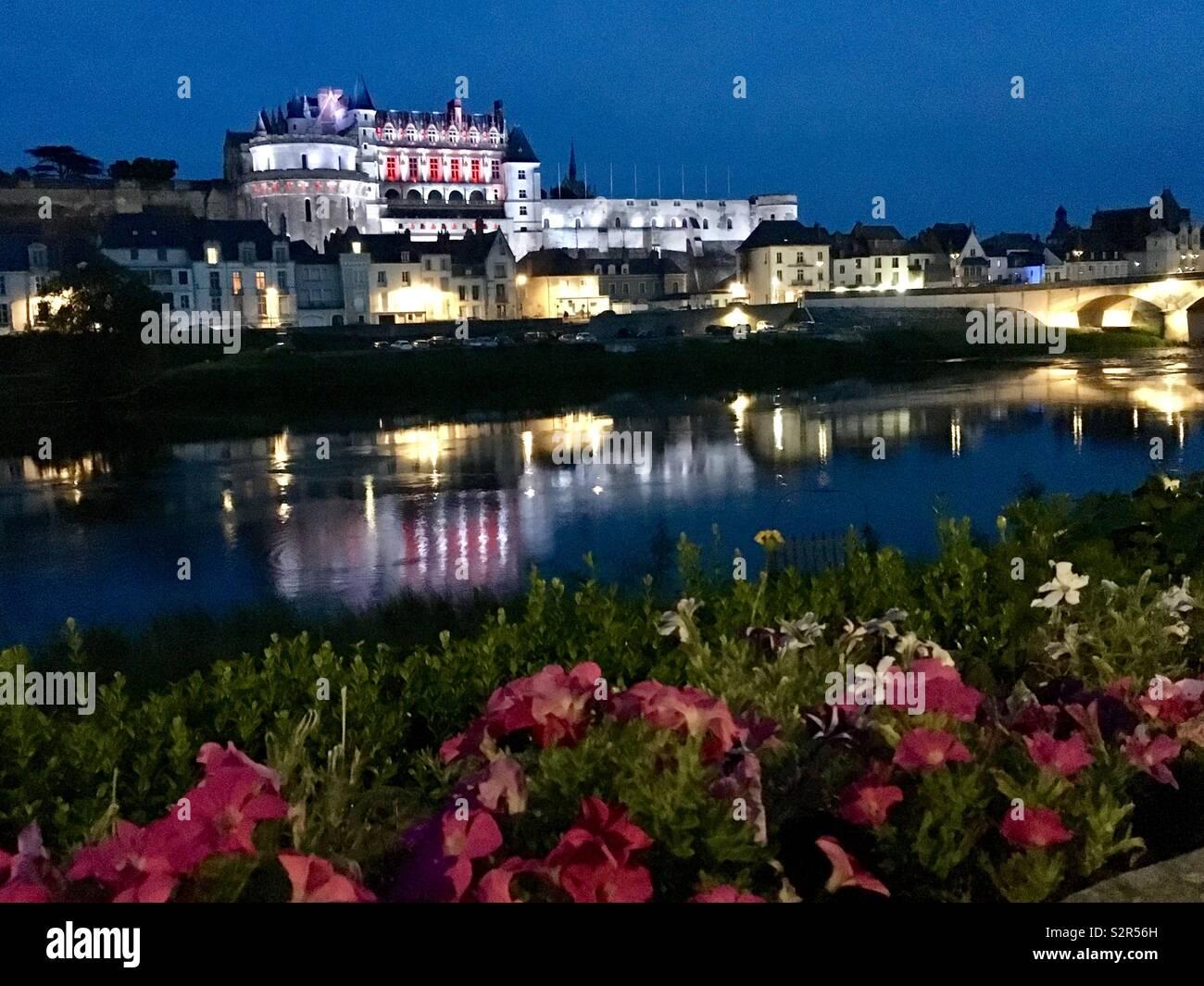 Castle at town Amboise on Loire river, Departement Loire er Cher, France. - Stock Image