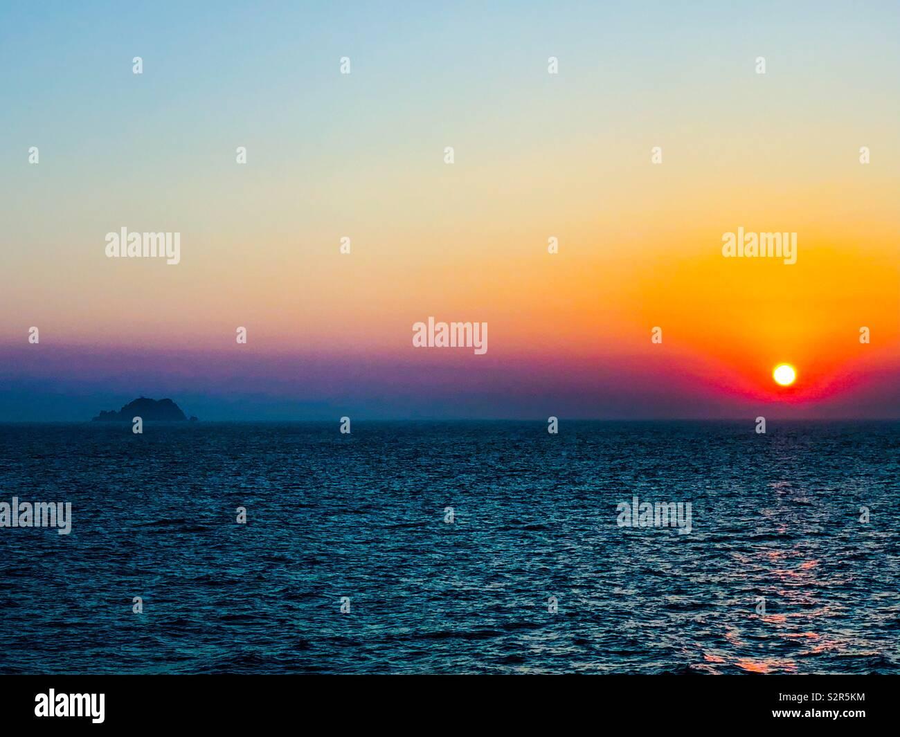 Sunset in the East China Sea near Busan, South Korea - Stock Image