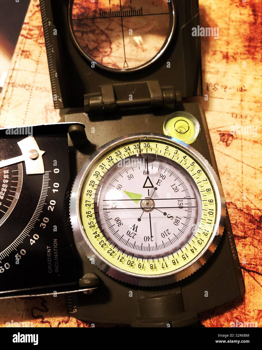 Complex compass on antique map - Stock Image