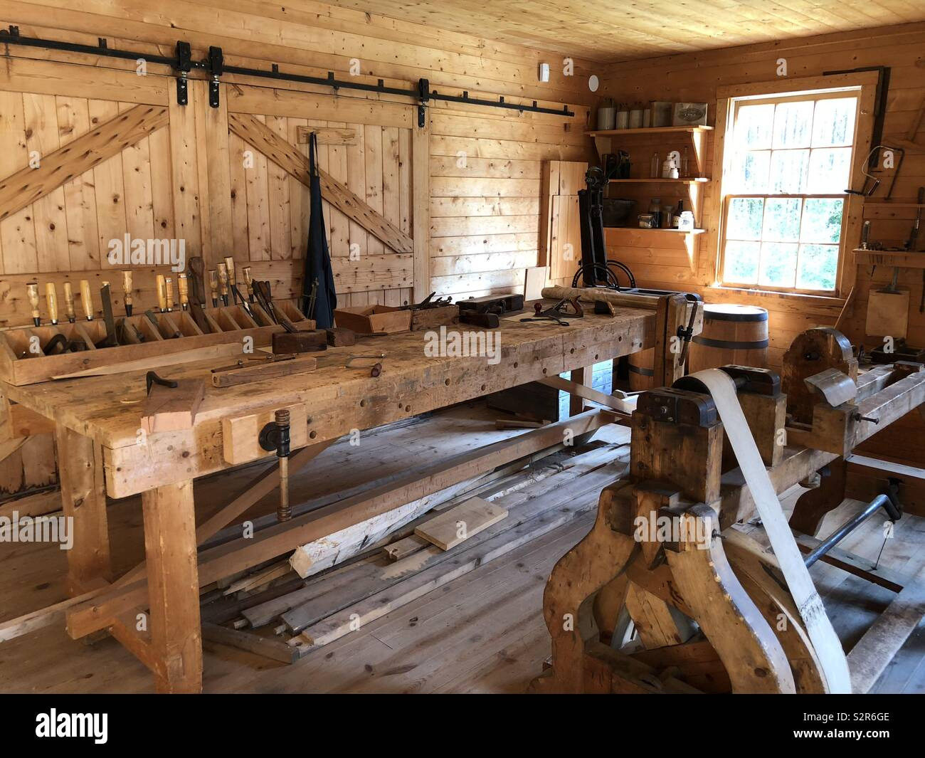 Historical Woodworking Shop Display At Fort Edmonton Park In