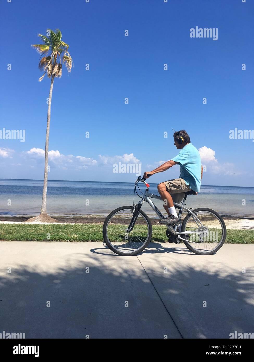 Man wearing headphones on bike cycling past palm tree - Stock Image