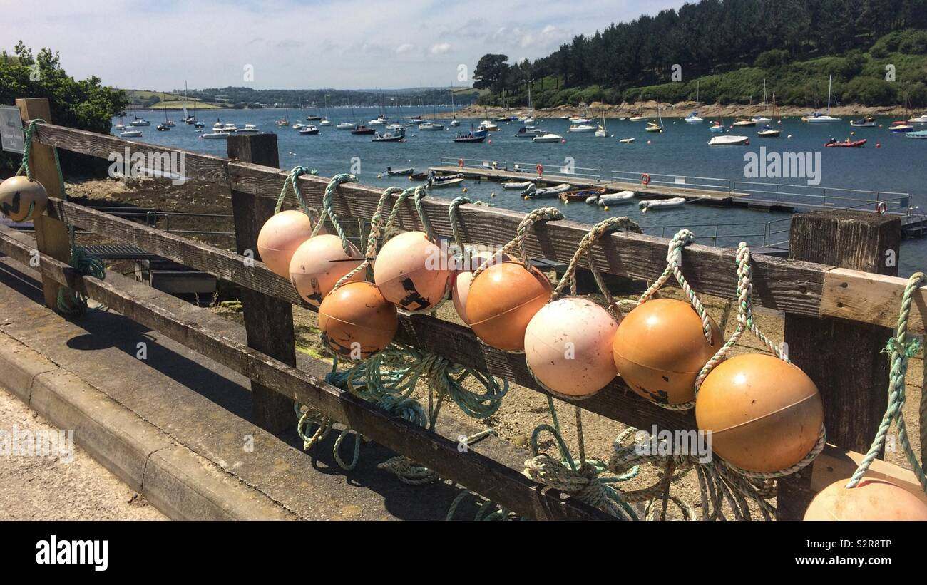 Fishing gear drying in sun at St Mawes - Stock Image