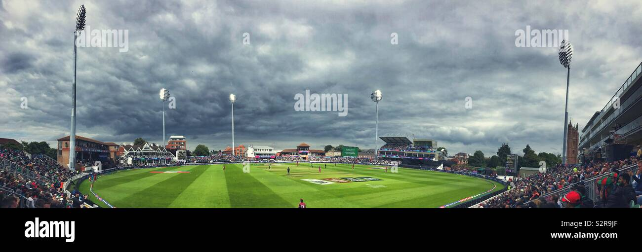 A wide angle view of the Taunton cricket pitch in Somerset during the Cricket World Cup 2019 match between the West Indies and Bangladesh - Stock Image