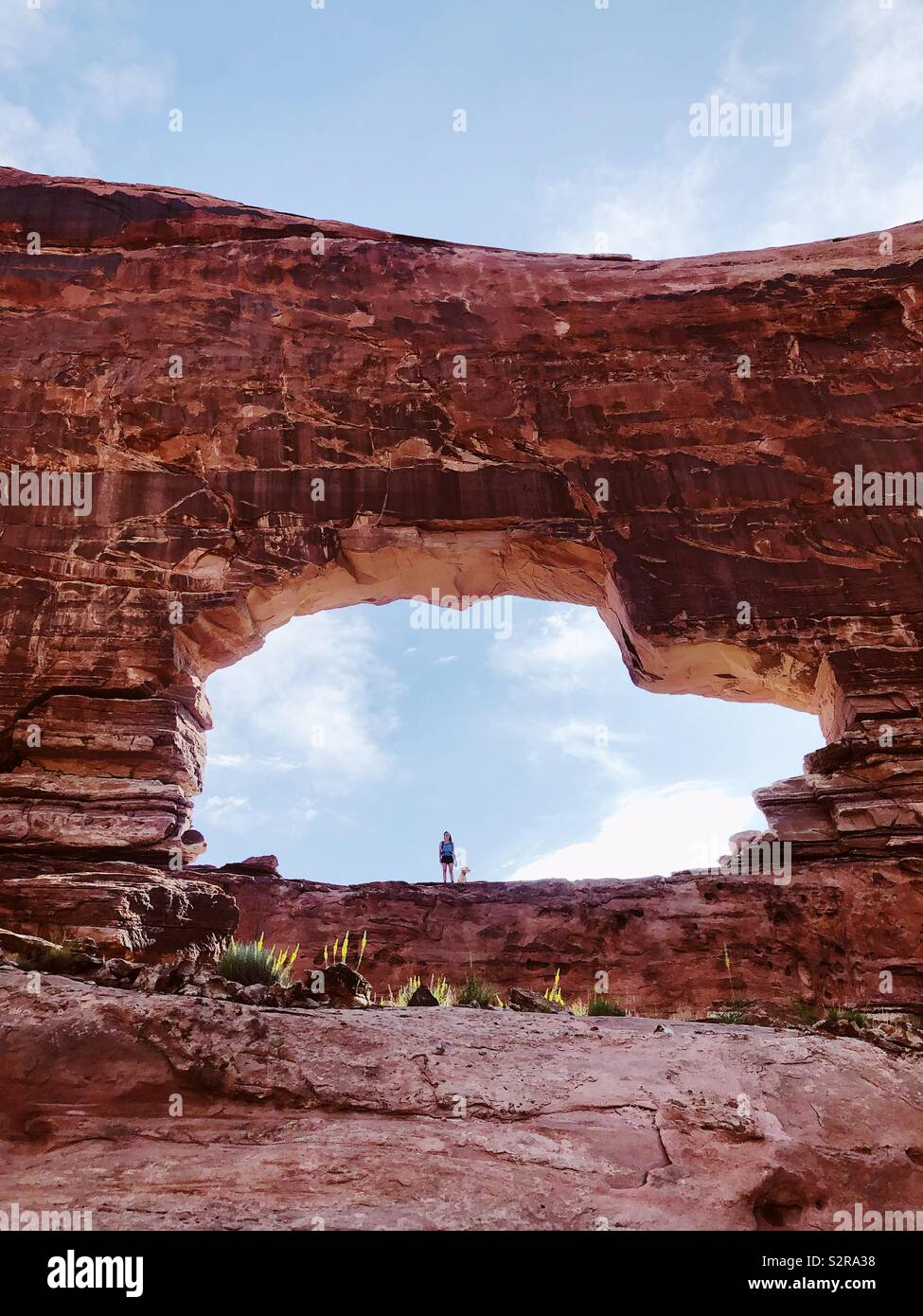 Woman and dog standing in the Jeep Arch near Moab Stock Photo
