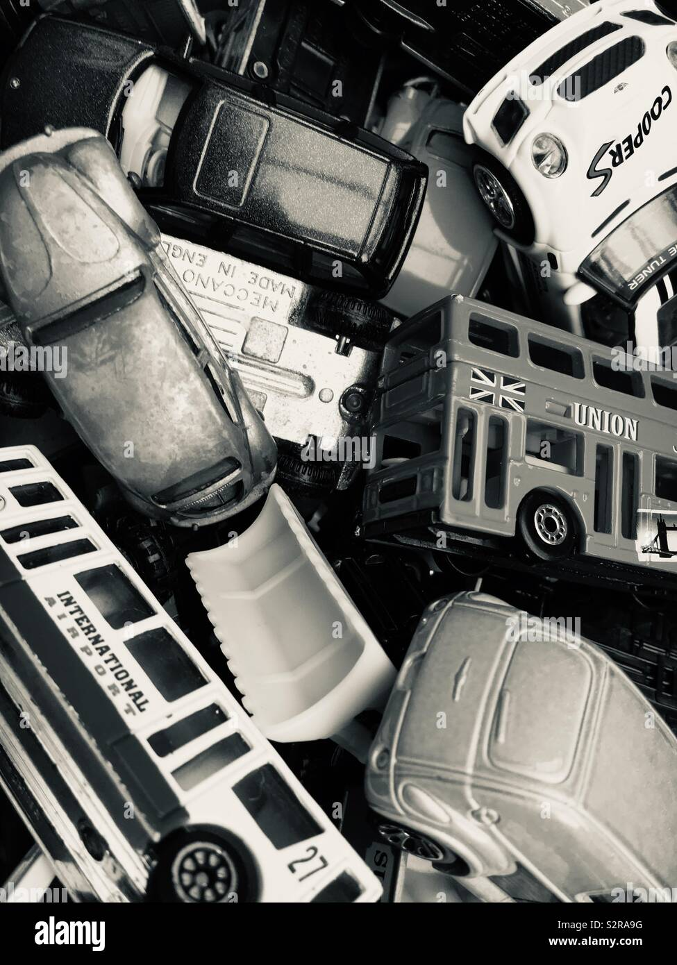 Box full of toy die cast cars Stock Photo