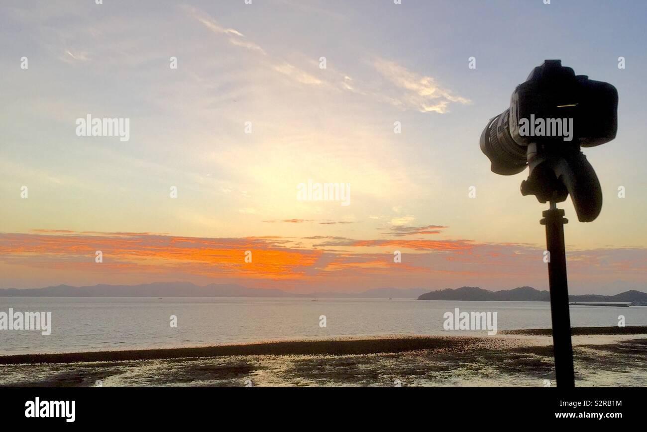 Photographing the dawn. Phuket Thailand - Stock Image