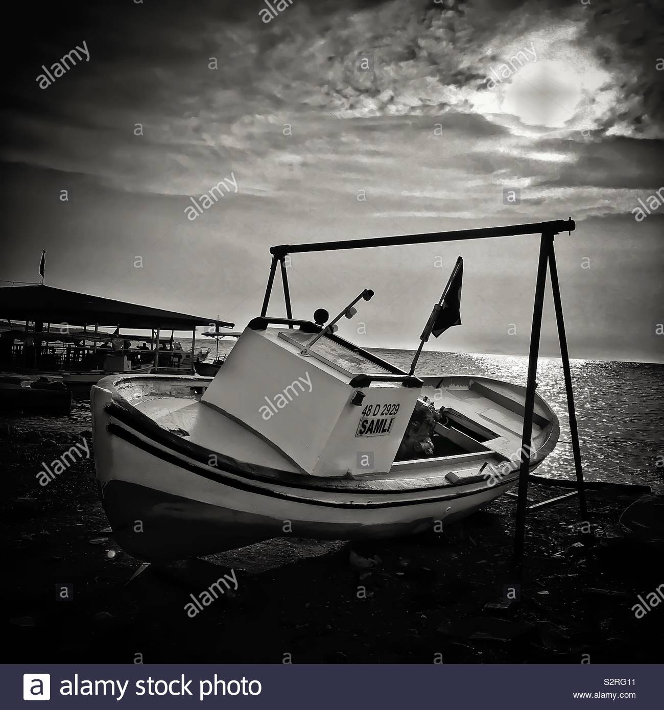 A fisherman's boat on dry dock ready for repairs Mavişehir Turkey - Stock Image