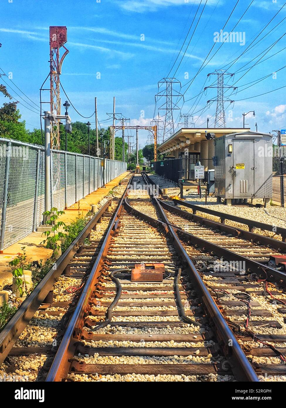 End of the line at Chicago's Skokie Swift CTA public transit rail line. Stock Photo