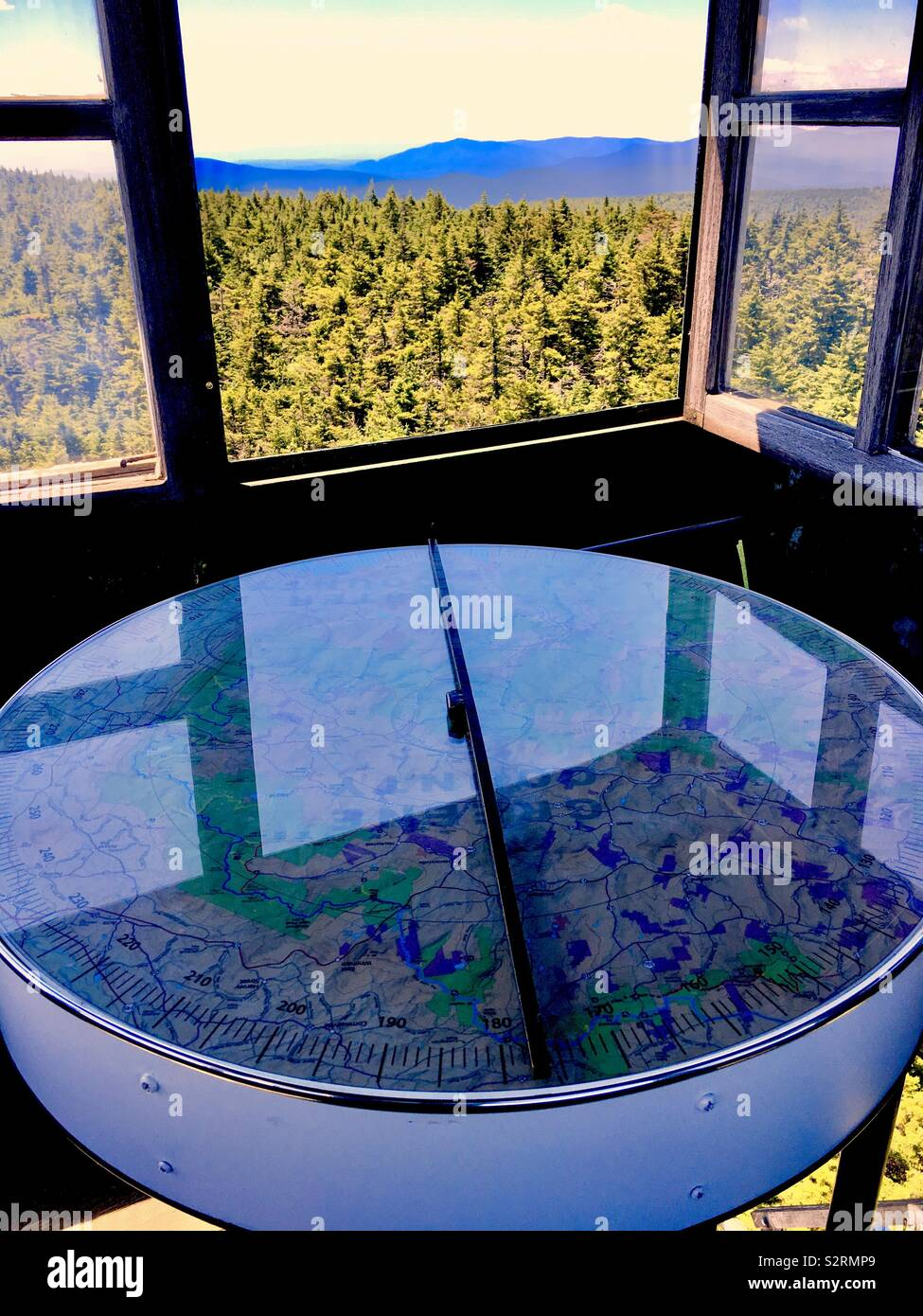 Theodolite compass in Fire Tower at Hunter Mountain New York - Stock Image