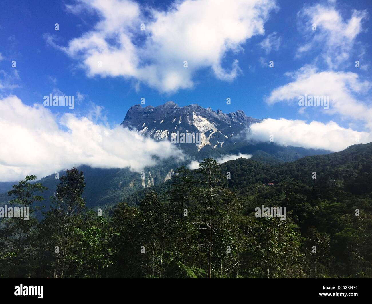 Mt Kota Kinabalu in sunshine - Stock Image