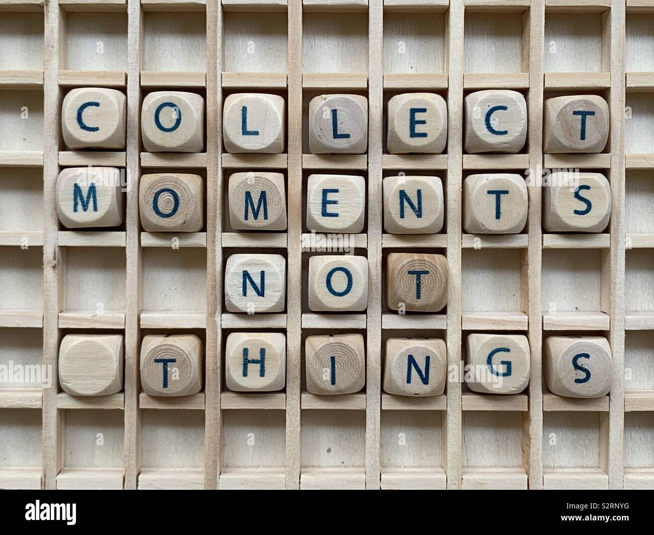 Collect moments not things - Stock Image