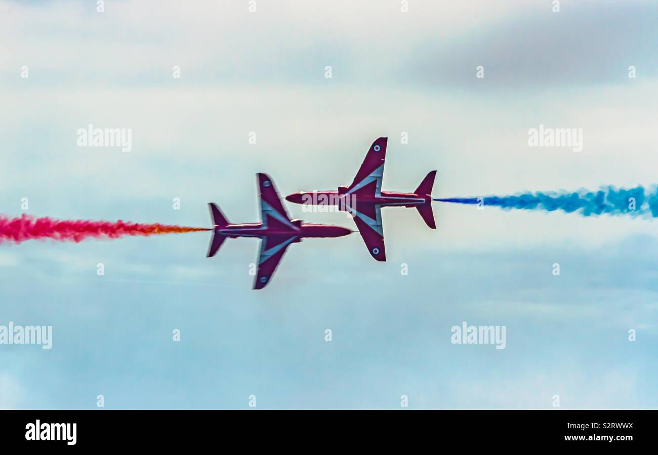 Perfect gypo pass by red arrows - Stock Image