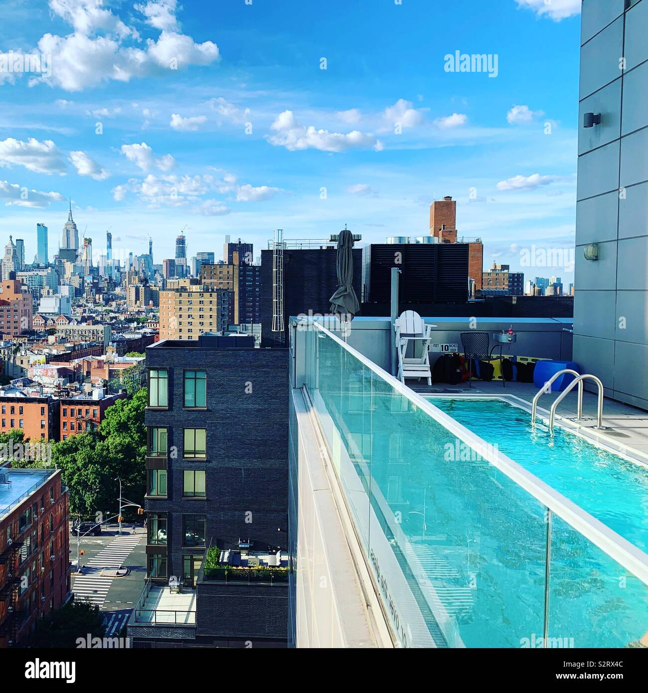 A view from beside the pool at the Hotel Indigo Lower East Side, New York City - Stock Image