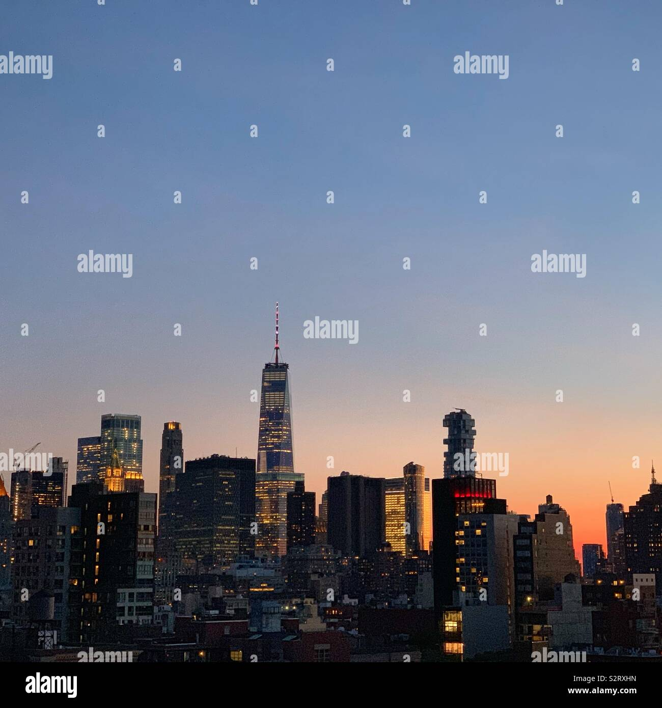 Evening view towards One World Trade Center from Mr. Purple bar, Hotel Indigo Lower East Side, New York City - Stock Image