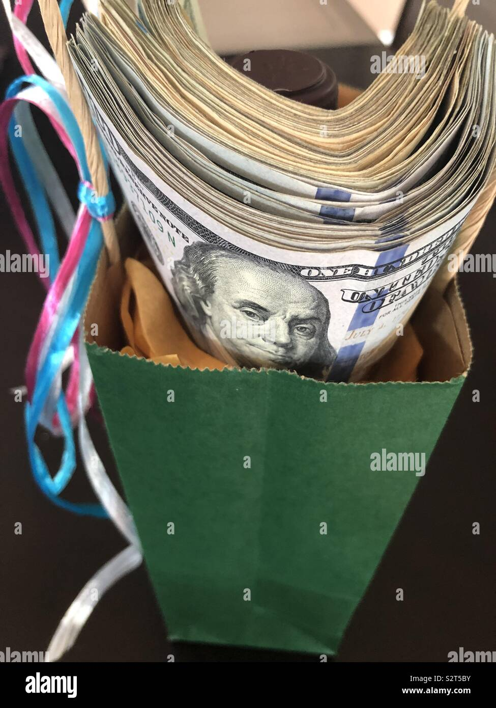 Money gift bag - Stock Image