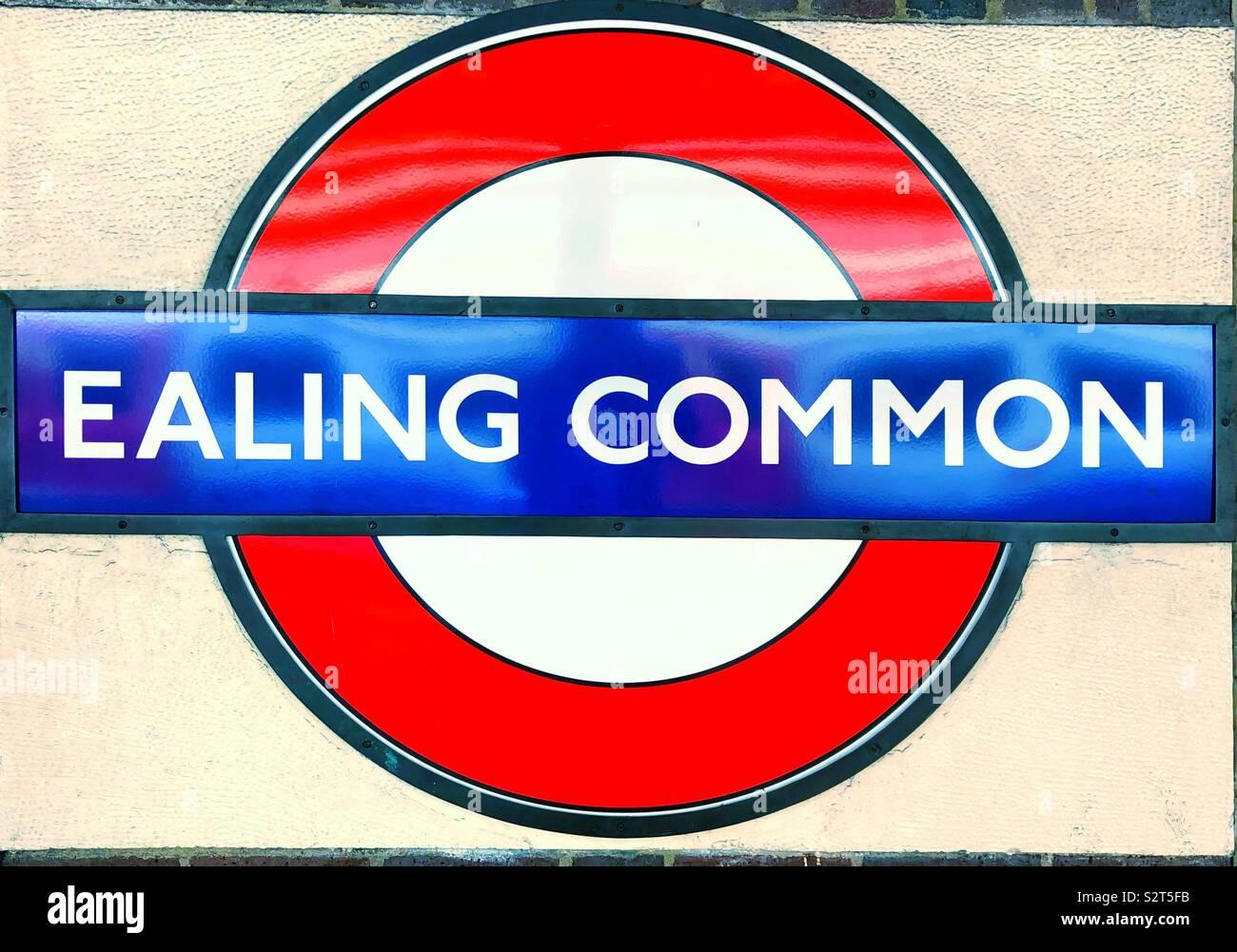 Ealing Common London Underground vintage roundel station name sign. Stock Photo