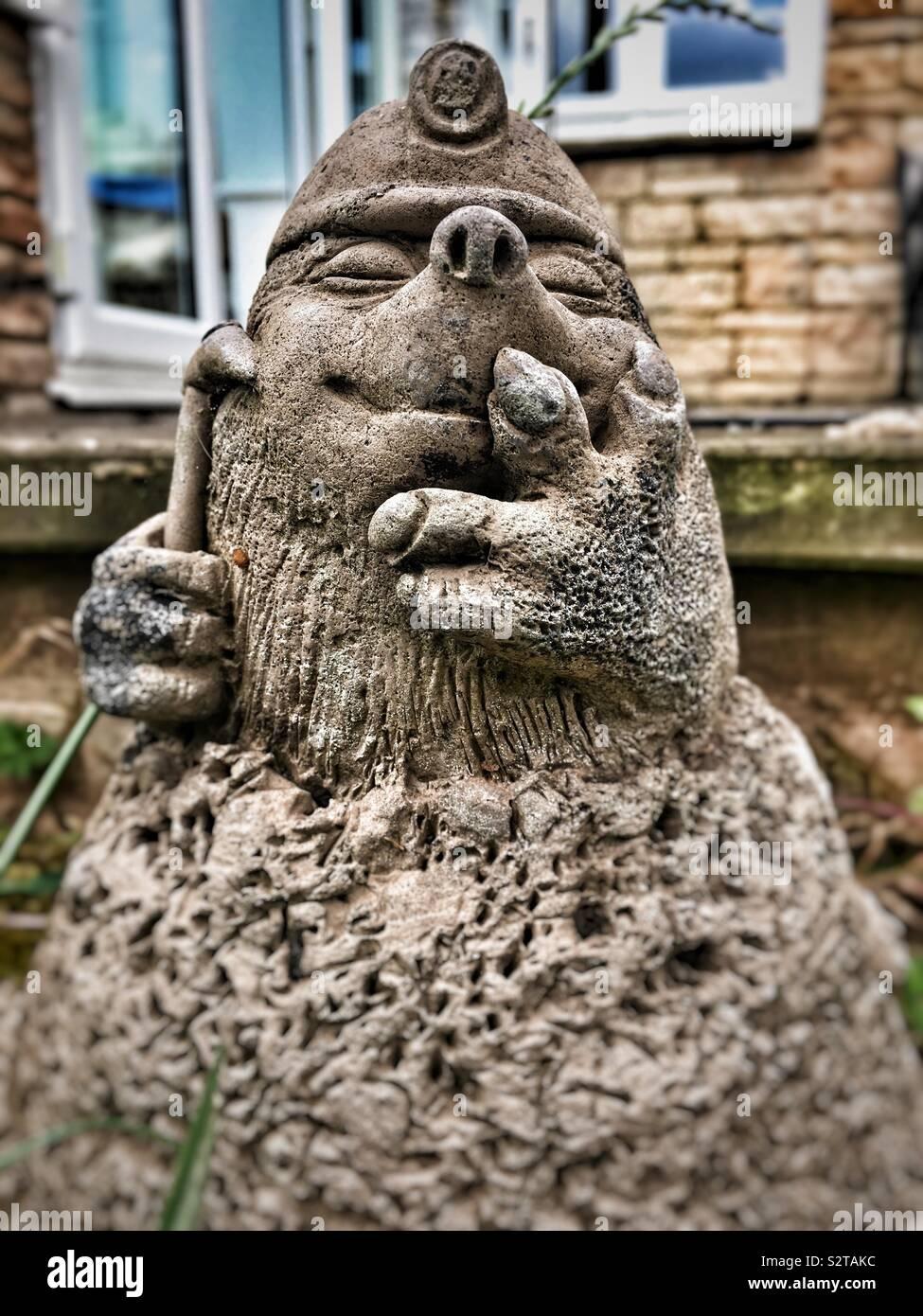 Small mining mole stone garden ornament